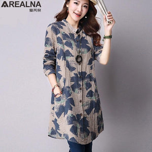 Autumn New Fashion Floral Print Cotton Linen Blouses Casual Long Sleevemodkily-modkily