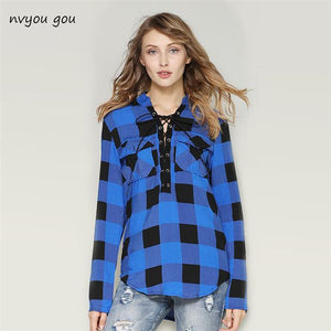 Women Flannel Plaid Shirts 2018 Latest Spring Long Sleeve Blouses Officemodkily-modkily