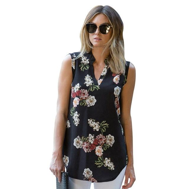 Liva Girl Chiffon Top Shirt Women Blouse Casual Sleeveless Flower Floral Tunicmodkily-modkily
