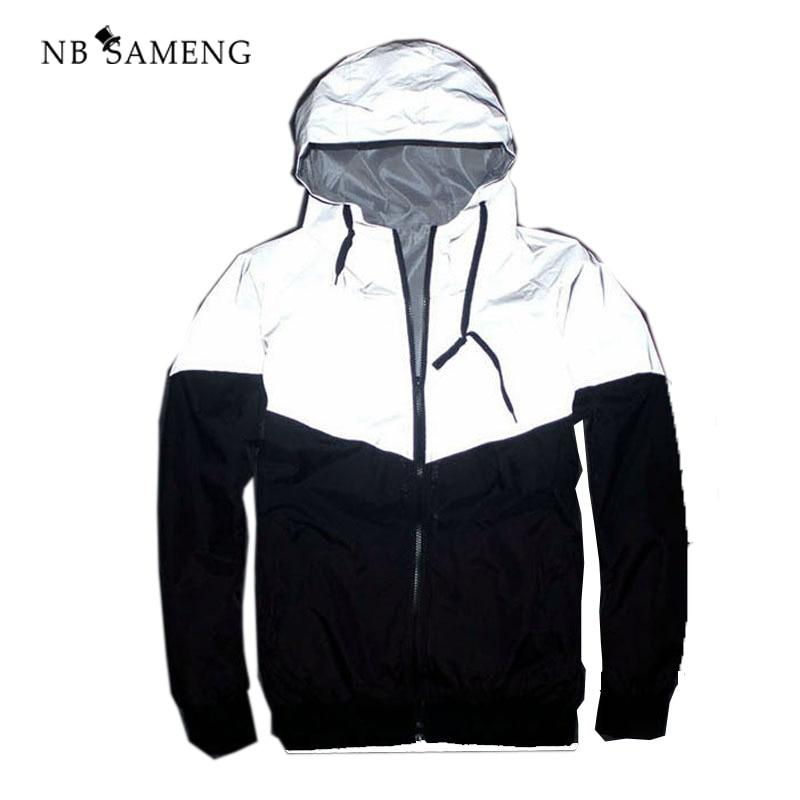 2018 Summer Reflective Jacket Fashion Windbreaker Hip Hop New Brand 3m Jacketmodkily-modkily