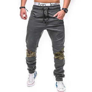 2018 men's casual pants fashion camouflage stitching solid color cotton beammodkily-modkily