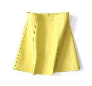 Toppies Women 2018 High Waisted Faux Leather Skirt Bright Yellow Black Solidmodkily-modkily