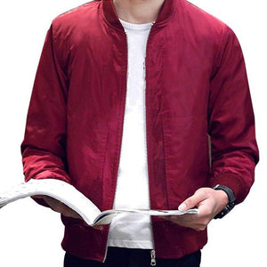 Men 2018 Spring Autumn Slim Fit Baseball Jacket Men's Solid Colormodkily-modkily
