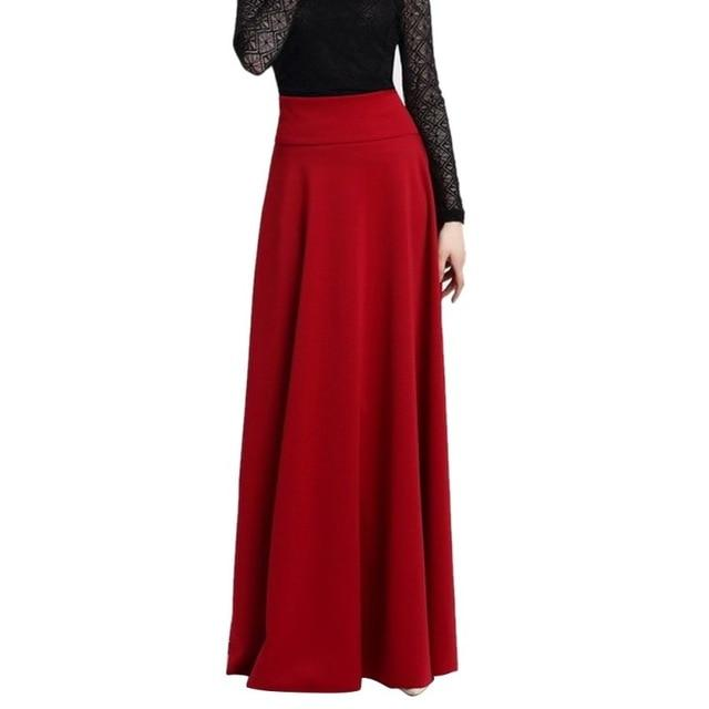 High Waist Pleat Elegant Skirt Wine Red Black Solid Color Long Skirtsmodkily-modkily