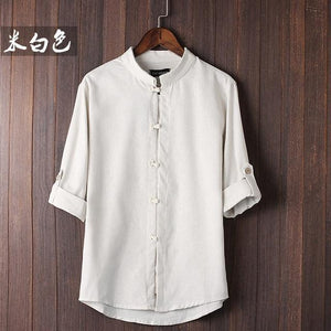 Chinese style Flax summer pants embroidered yarn men's shirt men's long sleevemodkily-modkily