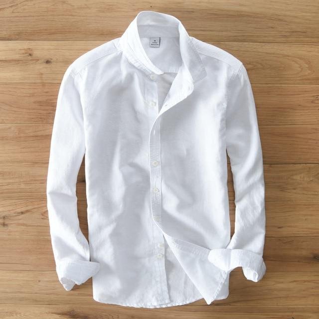 Cotton Linen Solid White Long Sleeve Men Casual Shirts Y076modkily-modkily