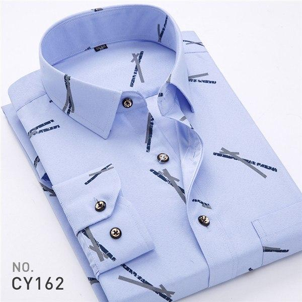 2018 Men Shirts Retro Floral Printed Long Sleeve Fashion Classical Man Slimmodkily-modkily