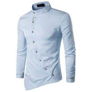 Men fashion leisure solid color Embroidery Shirt Personality Oblique Button Irregular Arrivalmodkily-modkily