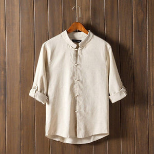 LEFT ROM 2018 summer high-grade man's leisure Pure color comfortable shirtsmodkily-modkily