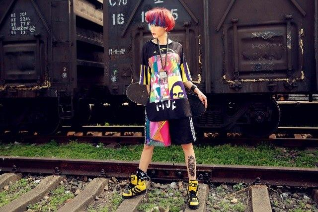 JUST.BE.NEVER Kawaii harajuku Women Summer Harem shorts elastic waist Print Blackmodkily-modkily