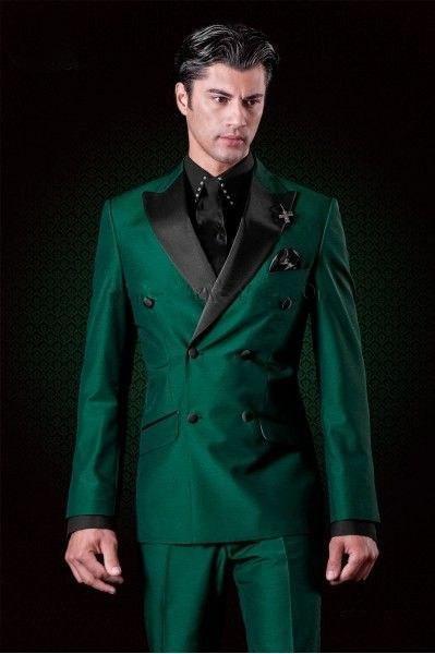 New Dark Green Double Breasted Men's Blazer suit Casual Men Blazer Slimmodkily-modkily
