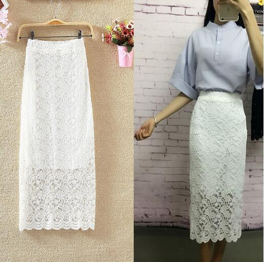 Summer Women Long Skirt Vintage Embroidery Lace Skirts Package Hip High Waistmodkily-modkily
