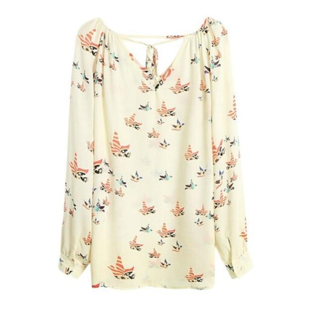 Fashion Women's Chiffon Blouse Tops 2018 Summer Long Sleeve V-Neck Dove Printedmodkily-modkily