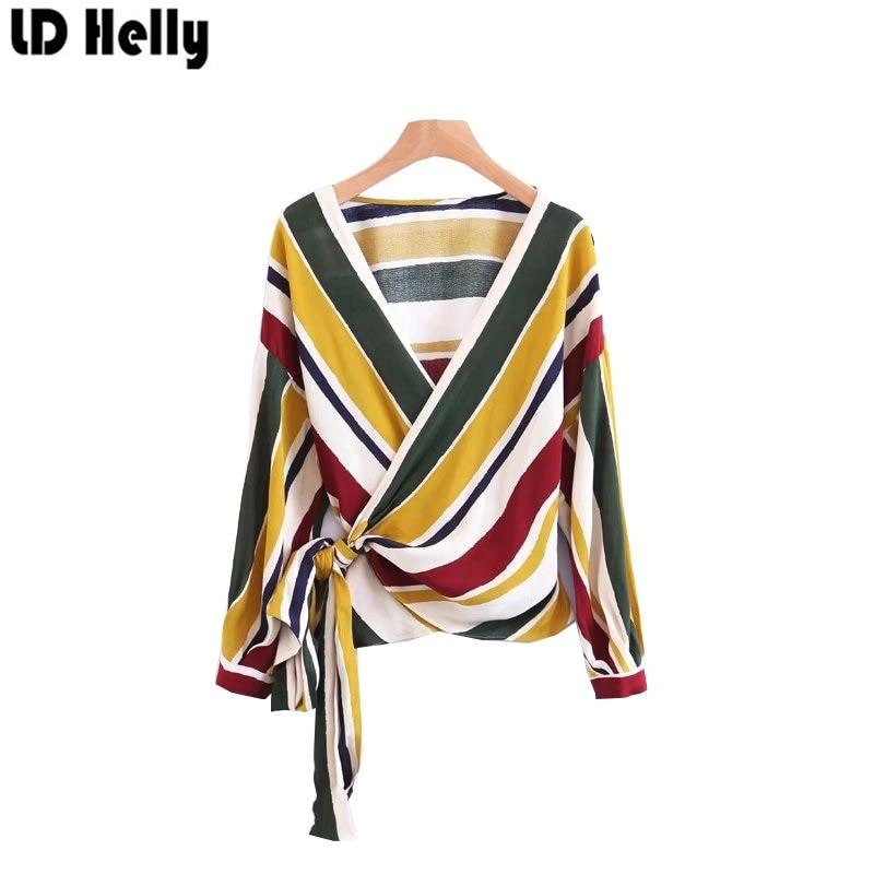 Fashion Women Striped Cross Bow Tie Blouse Shirts Elegant V-Neck Longmodkily-modkily