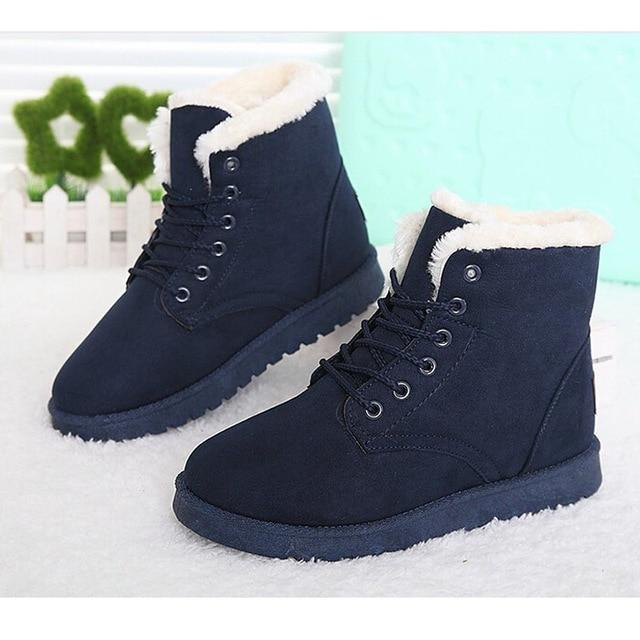 Women Boots Lace Up Fur Ankle Boots 2018 Fashion Winter Snow Bootsmodkily-modkily