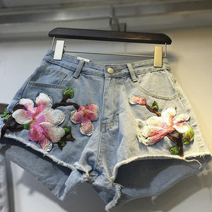 2018 Casual Floral Embroidery Denim Shorts Women Summer Plus size Wide Legmodkily-modkily