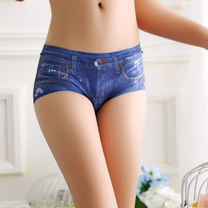 Women Sexy Shorts 3D Denim Number Printing New Fashion blue Soft Comfortablemodkily-modkily