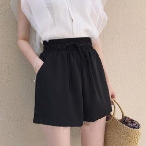 New Product Plus szie black shorts skirt women summer elastic high waistmodkily-modkily