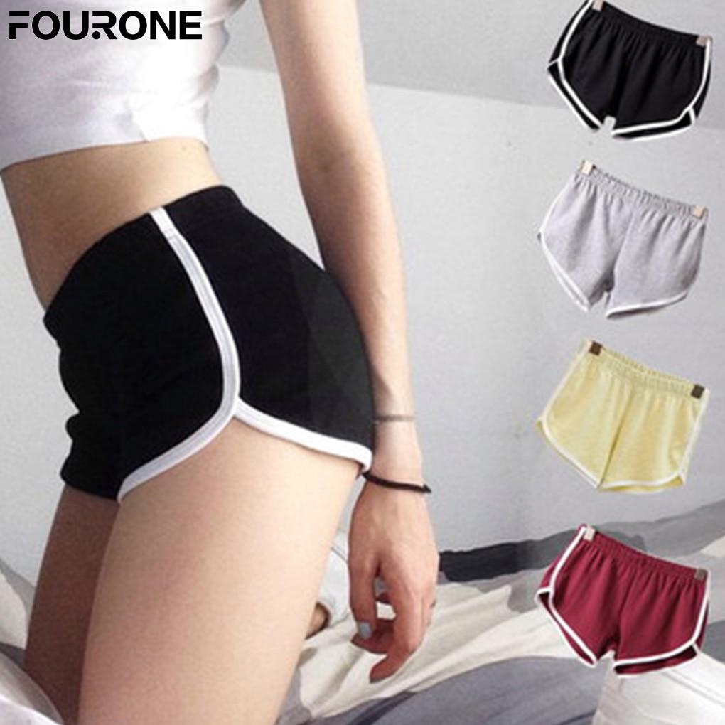 Women Short Elastic Waist All-match Loose Soft Cotton Casual Pure Color Shortmodkily-modkily