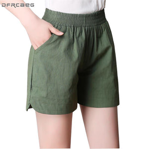 4XL Big Size Womens Shorts Summer 2018 Fashion Loose Elastic Waist Cottonmodkily-modkily