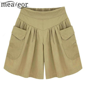 Shorts Casual Wide Legs Elastic High Waist Plus Size Solid Women Withmodkily-modkily