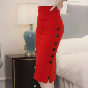 2 Colors Women Slim OL Sexy Open Slit Button Pencil Skirt Elegantmodkily-modkily