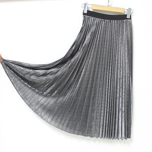 Metal fluffy pleated skirts long section of bright color elastic knitting goldmodkily-modkily