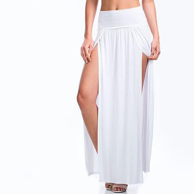 NEW 2018 Sexy Women Long Pleated Open Slit High Waist Solid Colormodkily-modkily
