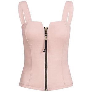 Top Fashion Sexy Small V Zip Black Vest Bow Beauty Back Nicemodkily-modkily