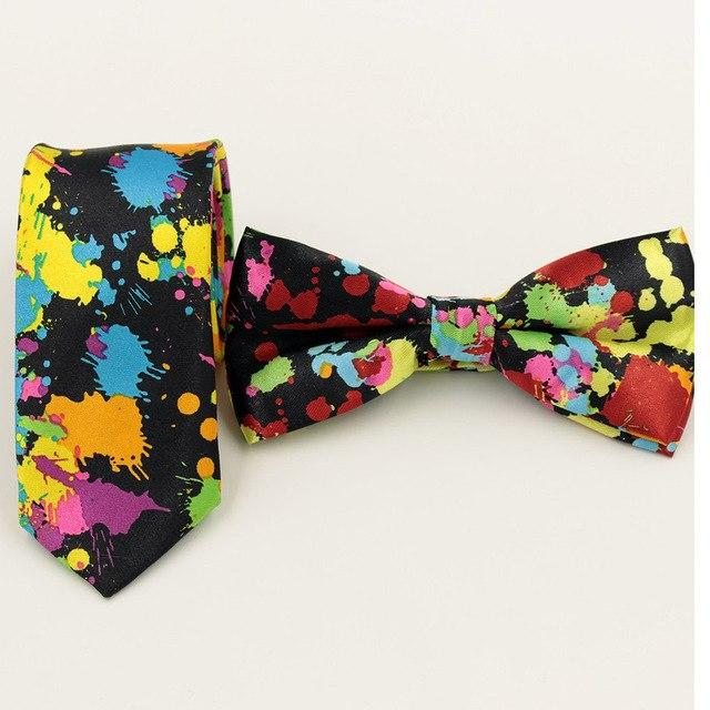 1pc Fashion Ink Printing Men Bow tie for Wedding Party Bowtie Groomsmodkily-modkily
