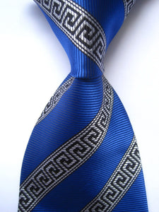 New arrive Classic Geometric Blue Black JACQUARD WOVEN 100% Silk Men's Tiemodkily-modkily