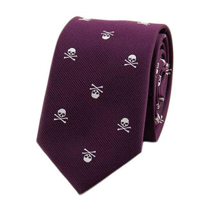 Personalized Cartoon Skull Printed Neck Tie Solid colors Casual Party Slim 6cmmodkily-modkily