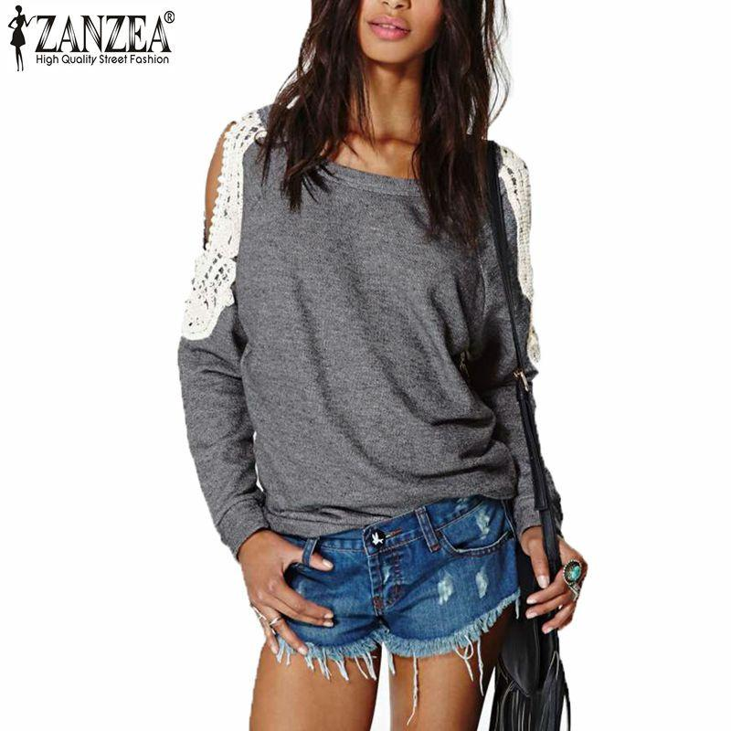 Zanzea Blusas 2016 Autumn Women Casual Sexy Lace Crochet Splice Off Shouldermodkily-modkily
