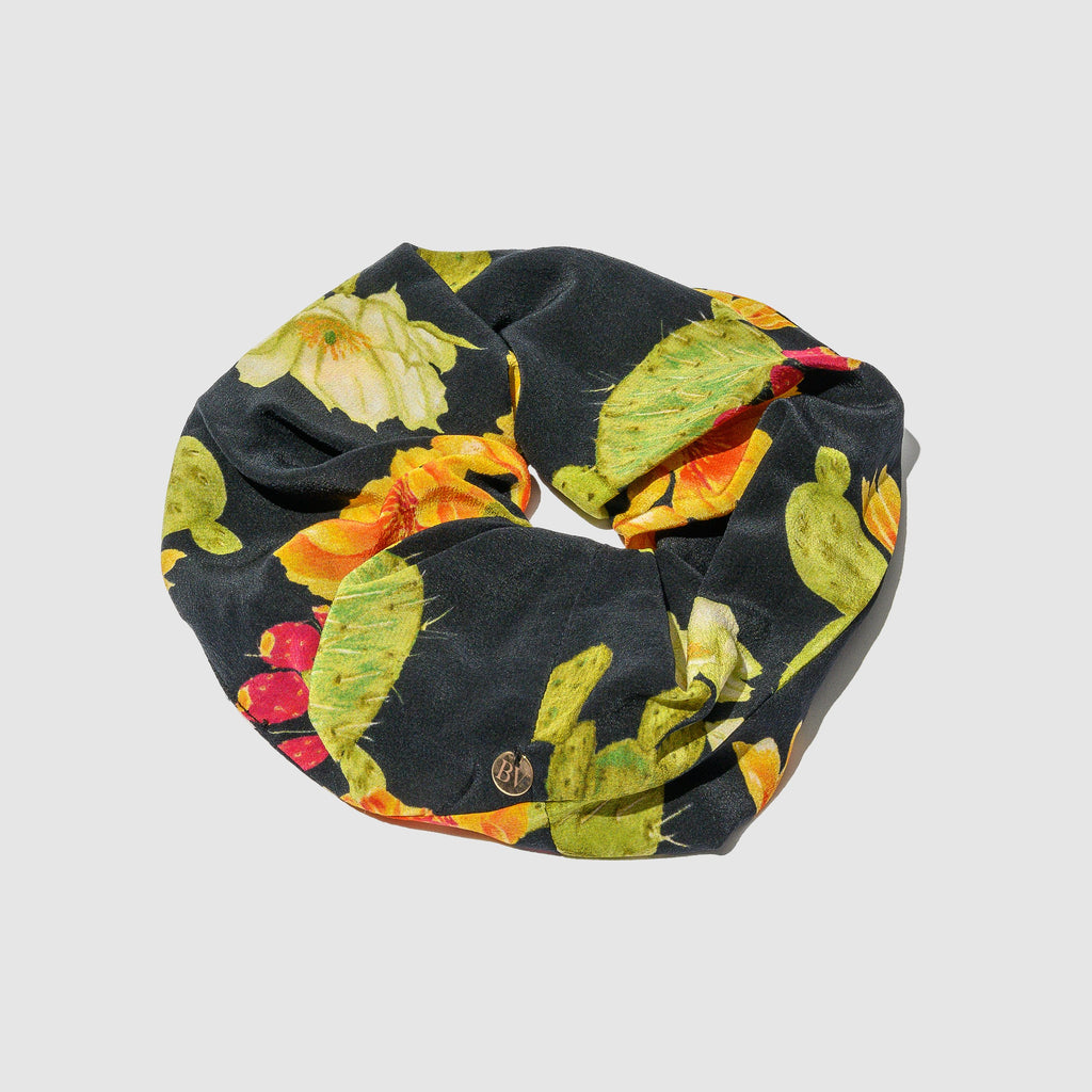 ACCESSORIES - BLACK OPUNTIA SILK HAIR TIE