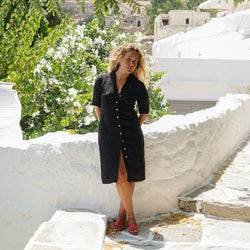 APPAREL - CUBANO DRESS- BLACK LINEN