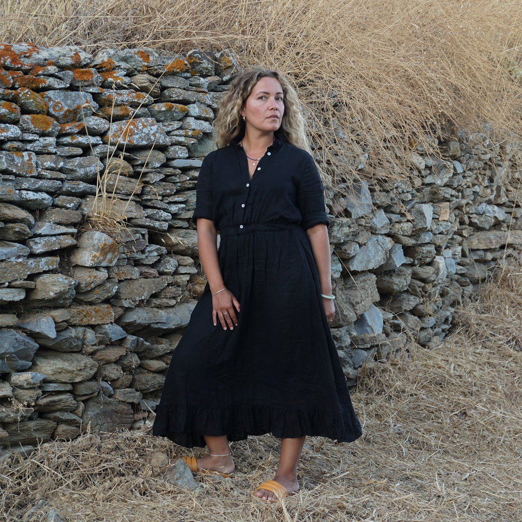 APPAREL - GUAJIRO DRESS BLACK LINEN