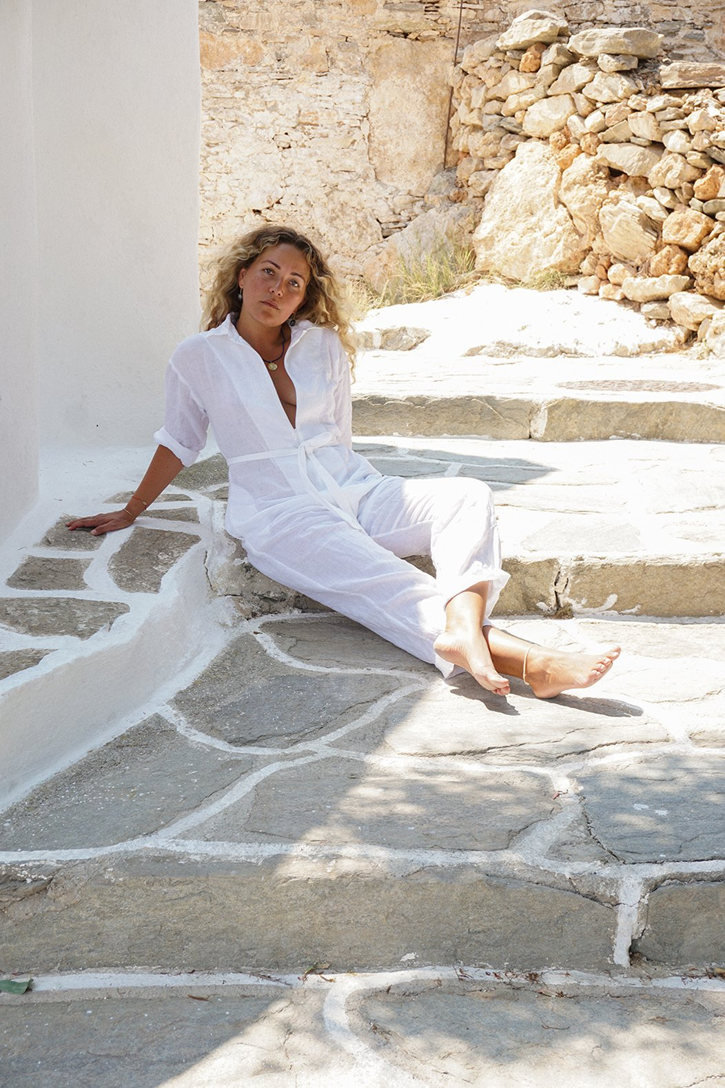 APPAREL - PICASSO JUMPSUIT WHITE LINEN