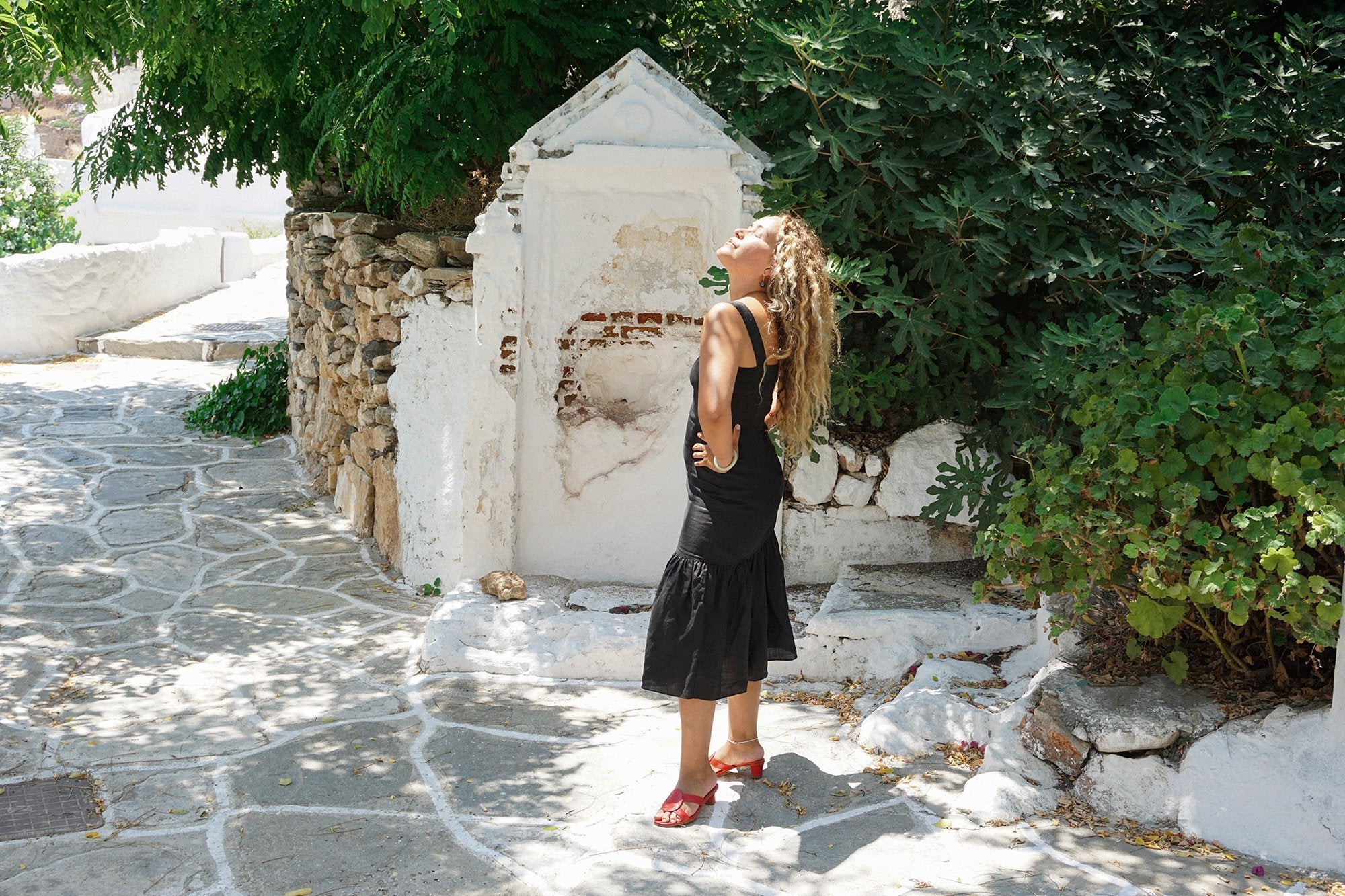 APPAREL - SICILIANO DRESS - BLACK LINEN
