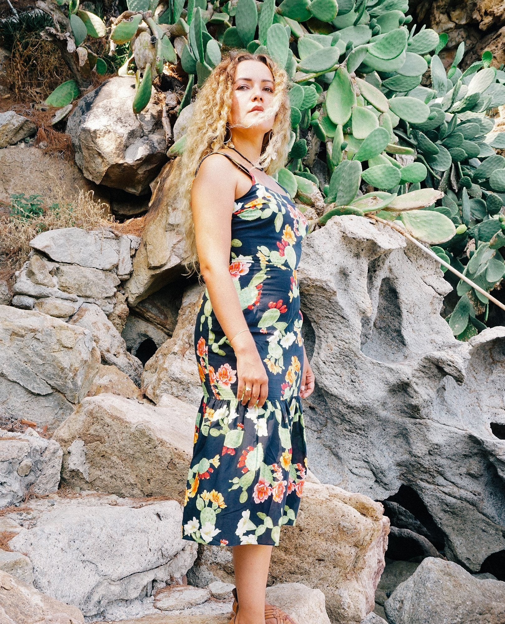 APPAREL - SICILIANO DRESS - OPUNTIA PRINT