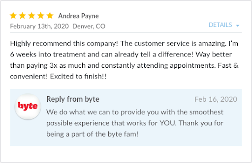 Review from Andrea Payne stating, Highly recommend this company!