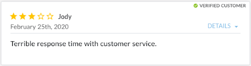 Review from Jody stating, Other aligner companies have terrible response time