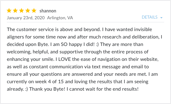 Review from Shannon stating, customer service is above and beyond
