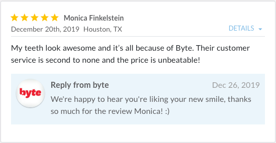 Review from Monica stating, My teeth look awesome