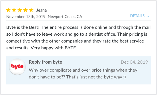 Review from Jeana stating, Byte is the best!