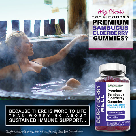 Immune Support and Immune System Boost for Winter Cold  Elderberry Gummies with Zinc and Vitamin C