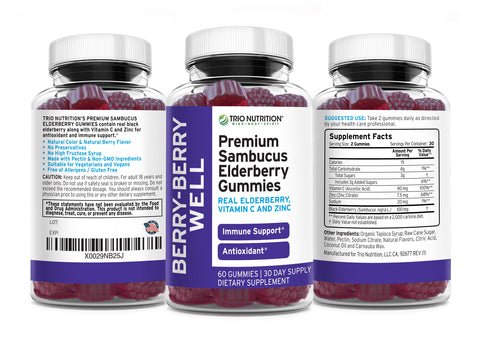 Elderberry Gummies No Gluten No Major Allergens No High Fructose Vegan to combat winter cold
