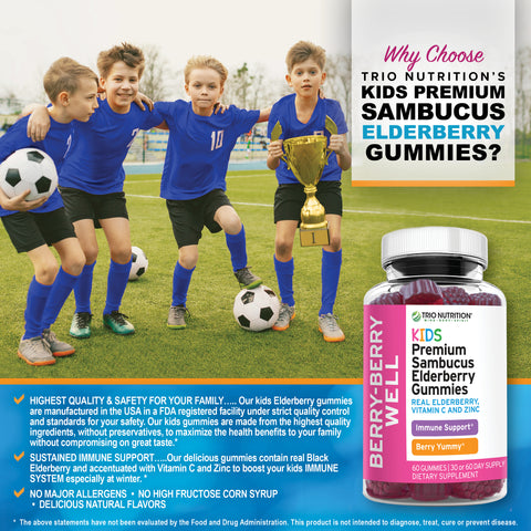 Kids Elderberry Gummies Immune Support Zinc Vitamin C