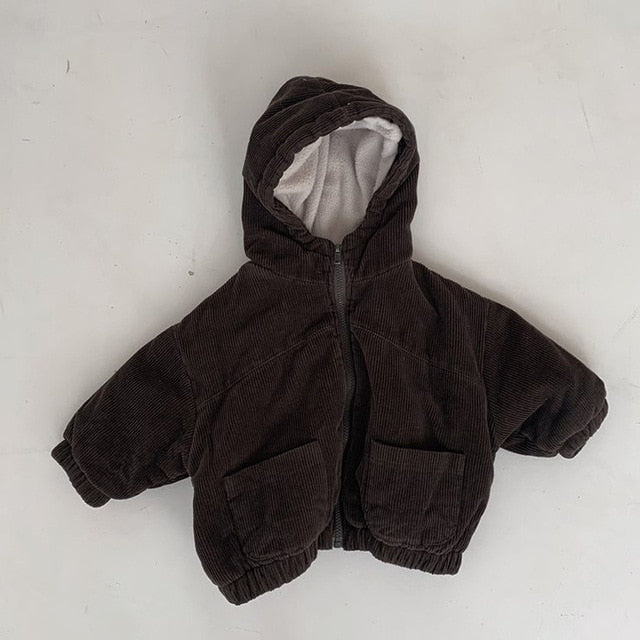 Winter Baby Boys And Girls Warm Coat Retro Fashion Corduroy Thickened Zipper