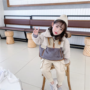 winter coat turn down collar long sleeve outerwear boys girls warm thick clothes 1-6 years