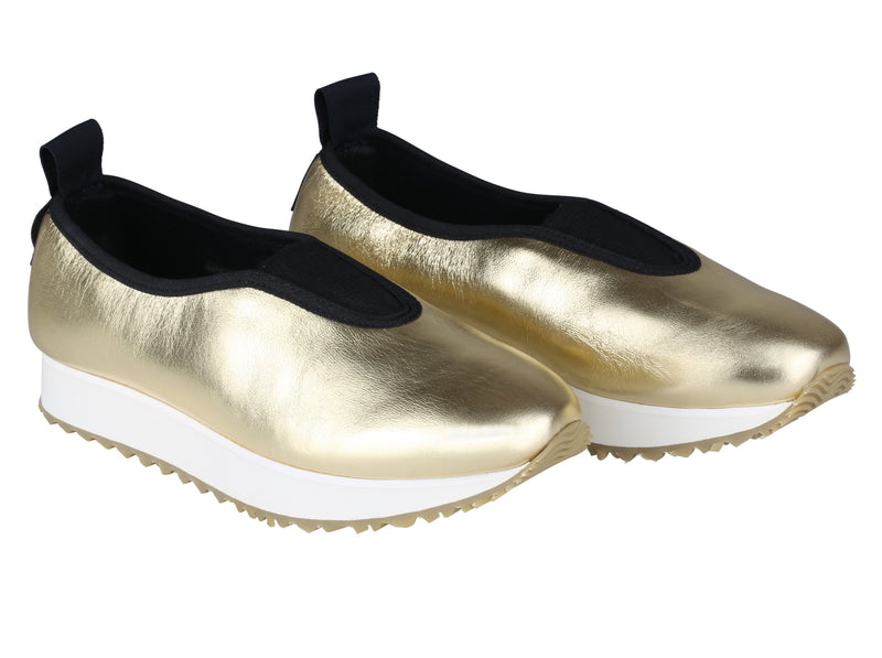 chaussures cuir froissé gold champagne